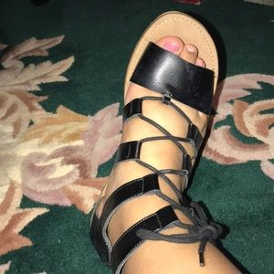 black lace up sandals from american eagle!